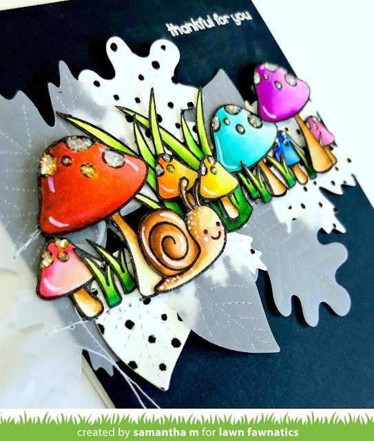 Thankful for You So Much Card by Samantha Mann for Lawn Fawnatics Challenge Blog, Lawn Fawn, Autumn, cards, sewing, fall, mushrooms, garden, #lawnfawn #lawnafawnatics #cards #fall #autumn #thankyoucard