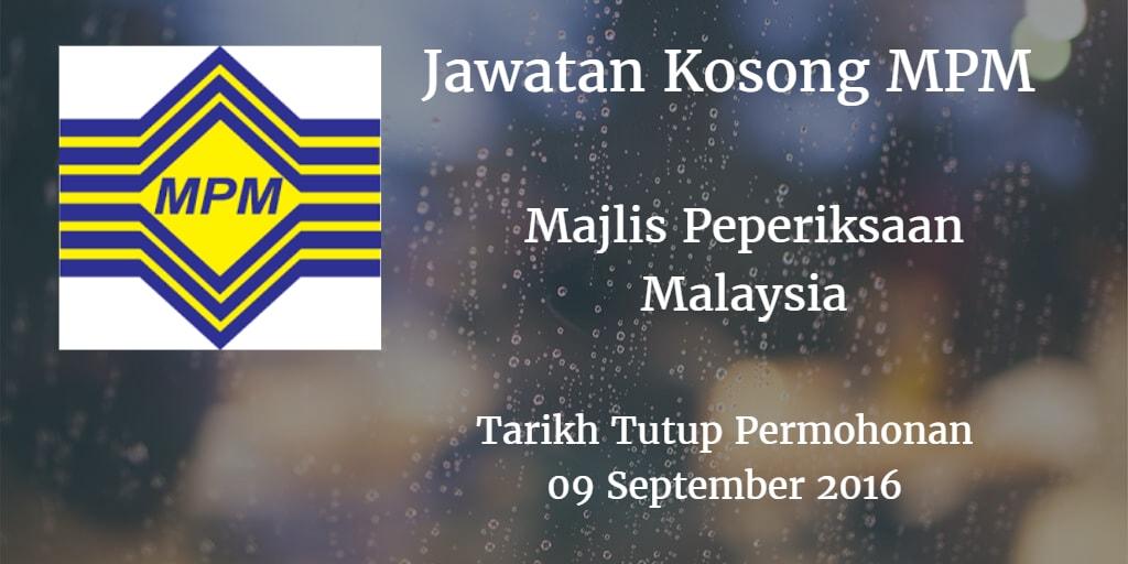 Jawatan Kosong MPM 09 September 2016