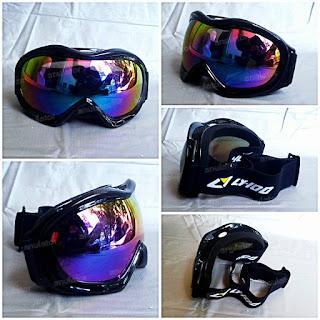 Goggle / Kacamata LY-14 visor chrome / krom pelangi /sky/snowboarding