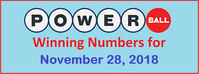 PowerBall Winning Numbers for Wednesday, 28 November 2018