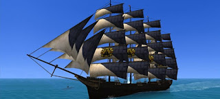 A-huge-ship-with-square-sails-in-the-open-ocean
