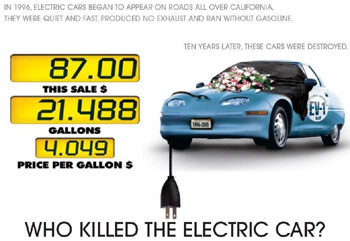 killed electric car thesis Who killed the electric car essay sample introduction chris pain film is however based on some more recent efforts which were implemented by the california air resource board when it passed an emission bill which supported that any auto company which wanted to sell car in the market had to make sure that more about 2 percent of the cars sold were emission free.