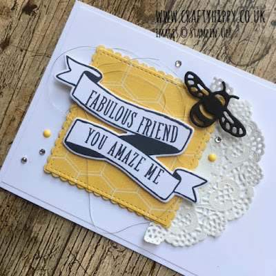 How to make an eclectic bee-themed card using the Bubbles & Fizz Designer Series Paper from Stampin' Up!