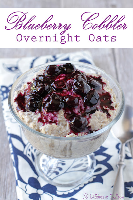 Blueberry Cobbler Overnight Oats + Protein (plus a Low-FODMAP option!)  /  Delicious as it Looks