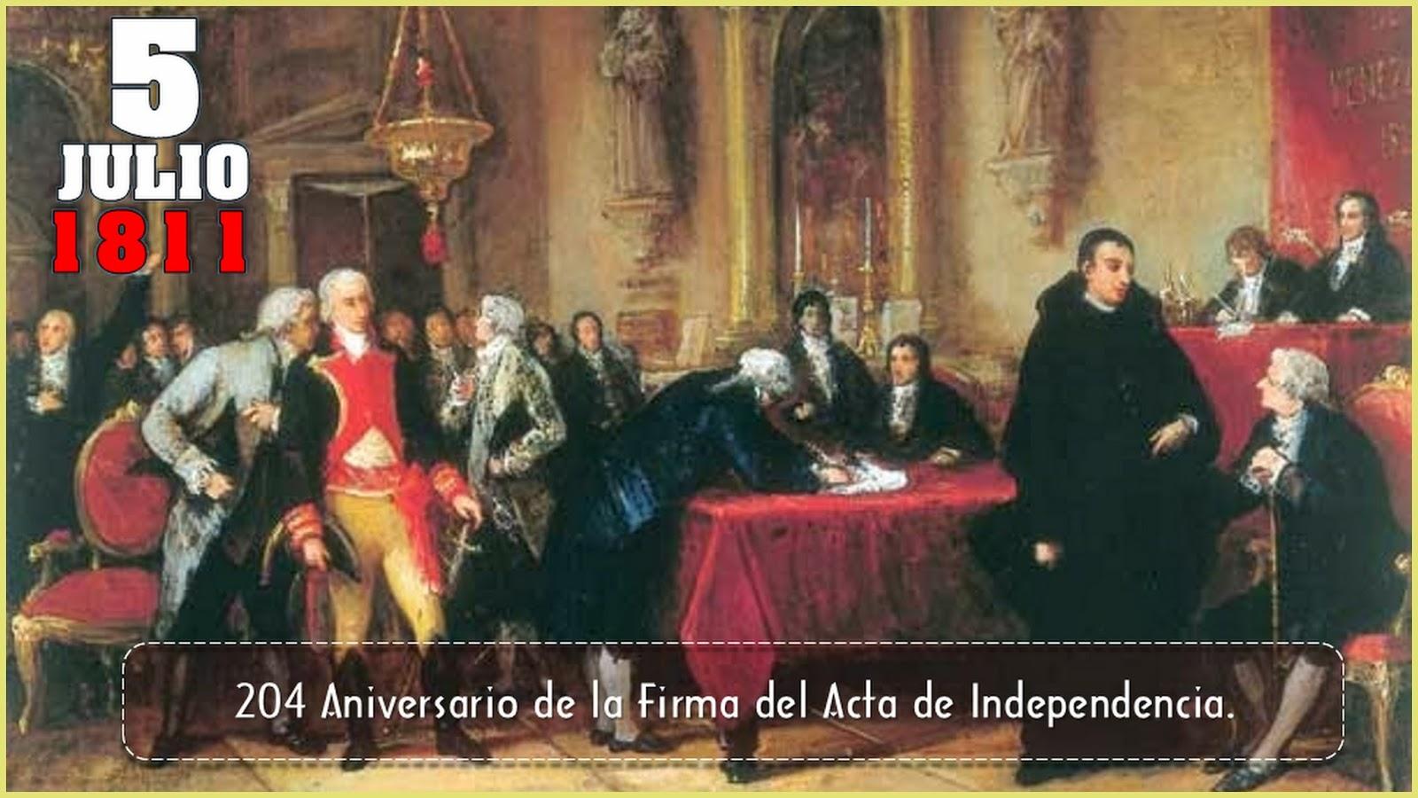 Tus Efemérides Escolares: 5 de Julio de 1811 Firma del Acta de ...