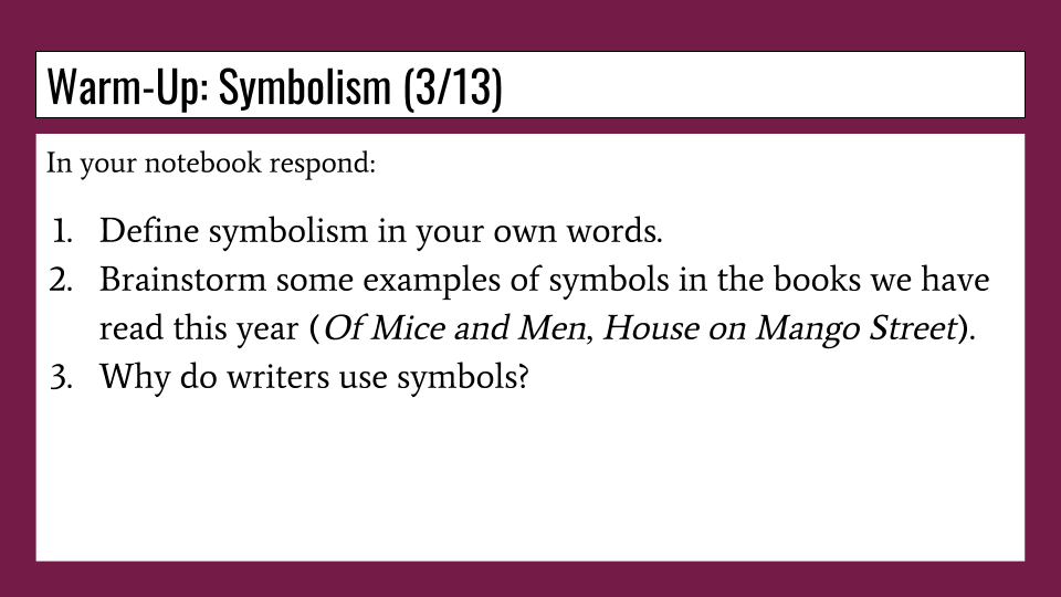 Mr Staianos Freshman English Blog Symbolism A Review