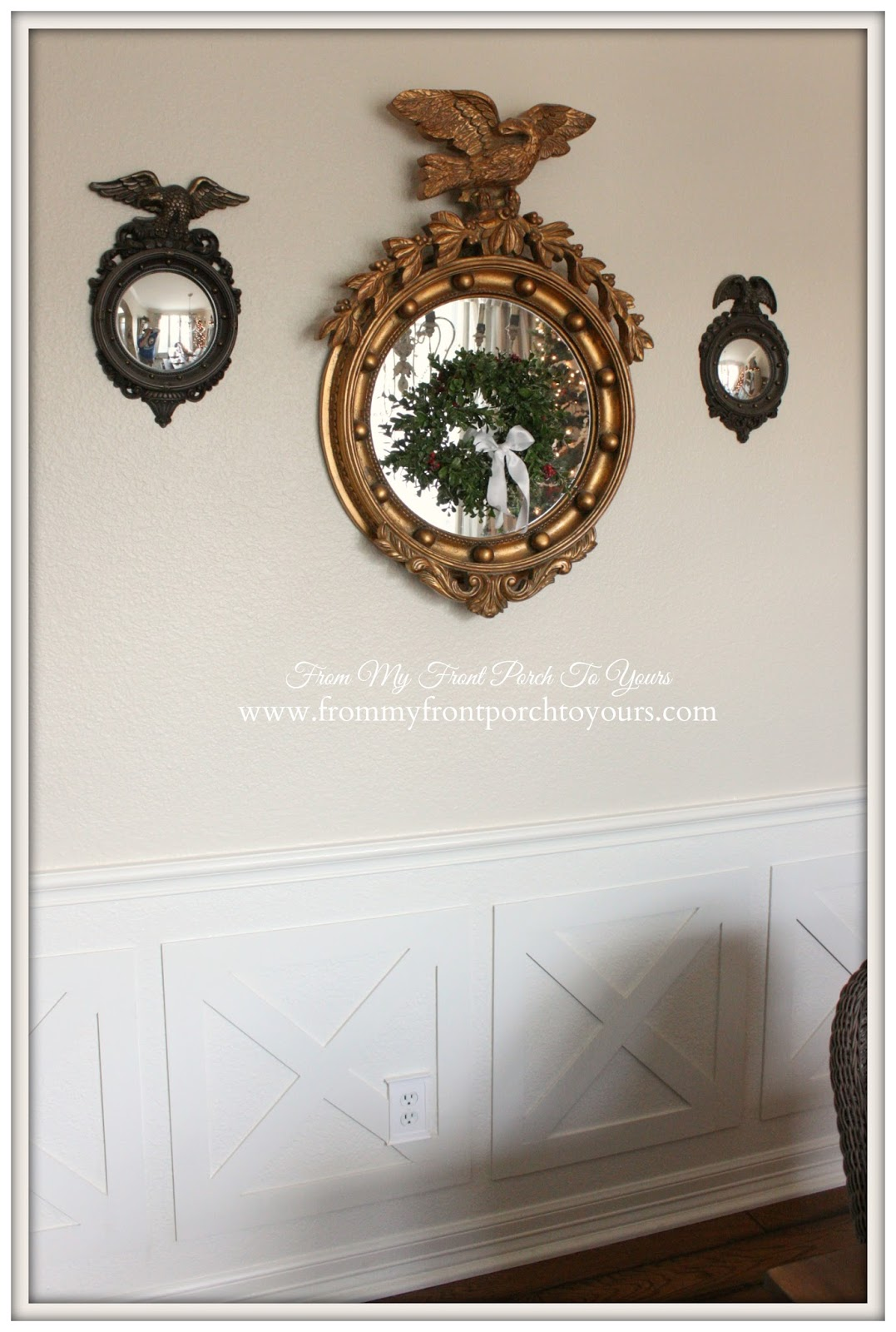 Federal Mirror-French Farmhouse Vintage Christmas Dining Room- From My Front Porch To Yours
