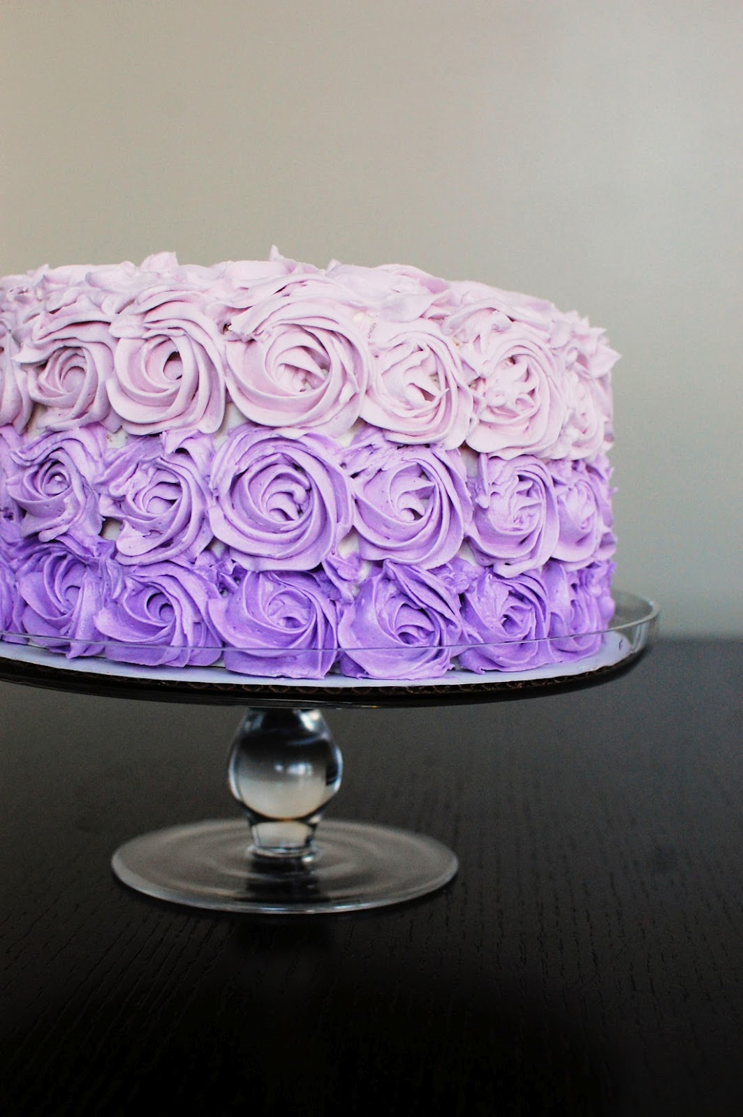 Lavender Ombre Rose Wedding Cake