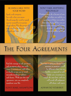 Image of book cover listing the four agreements: Be Impeccable with your word, Don't take anything personally, Don't make assumptions, Always do your best