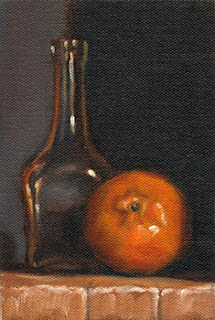Oil painting of a mandarine beside a small glass bottle.