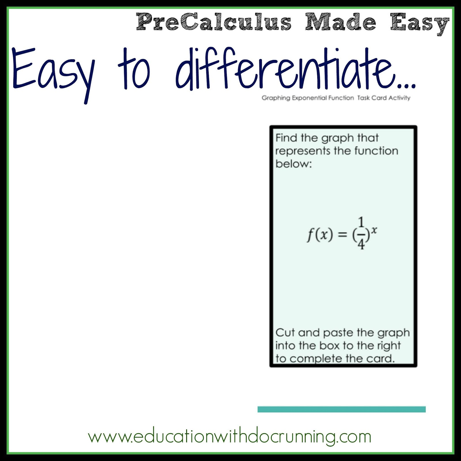 Math Mondays Graphing Exponential Functions Worksheet