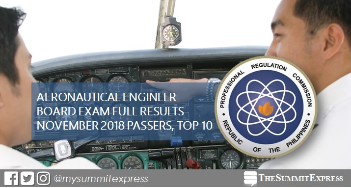 November 2018 Aeronautical Engineer board exam list of passers, top 10