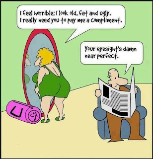 Funny Marriage Joke Picture - I feel horrible; Your eyesight's damn near perfect