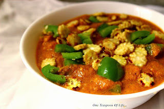 Baby Corn and Capsicum in a restaurant style gravy