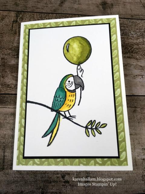 Stampin Up Bird Banter Birthday Card Idea - Karen Hallam stampinup