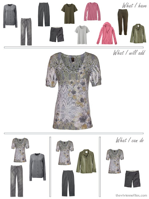 how to add a print tee shirt to an olive and grey travel capsule wardrobe