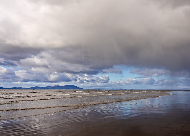 Photo of a heavy sky over the Solway Firth with rain in the distance