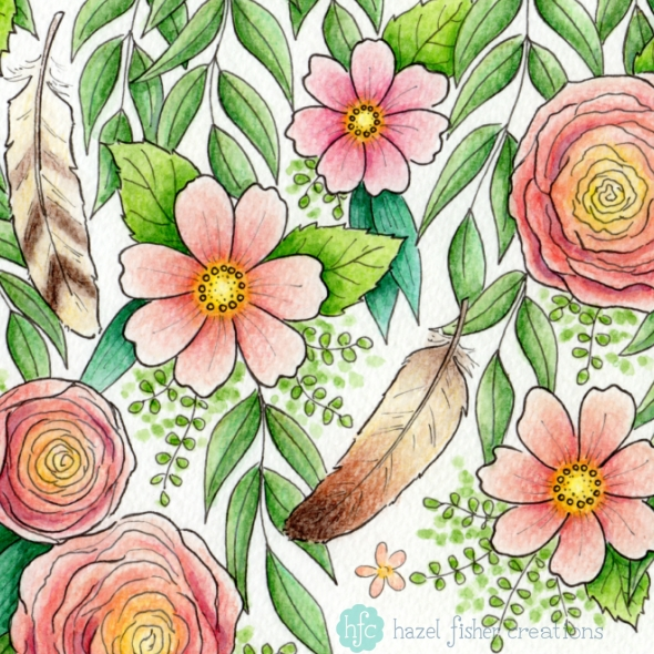 My entry to Spoonflower's tea towel calendar contest, Feathers and FlowersArrows design by Hazel Fisher Creations