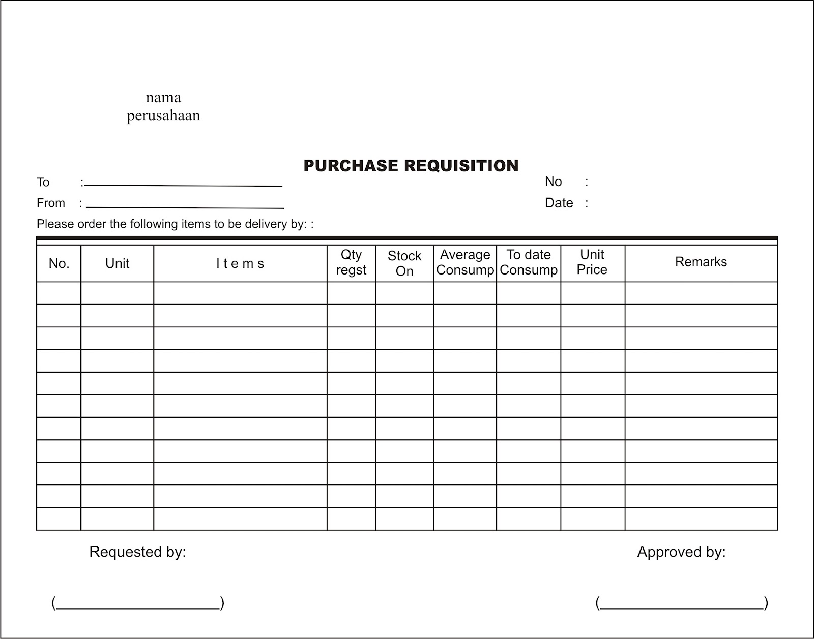 Akuntansi Biaya: contoh form desain Purchase Order, Market List ...