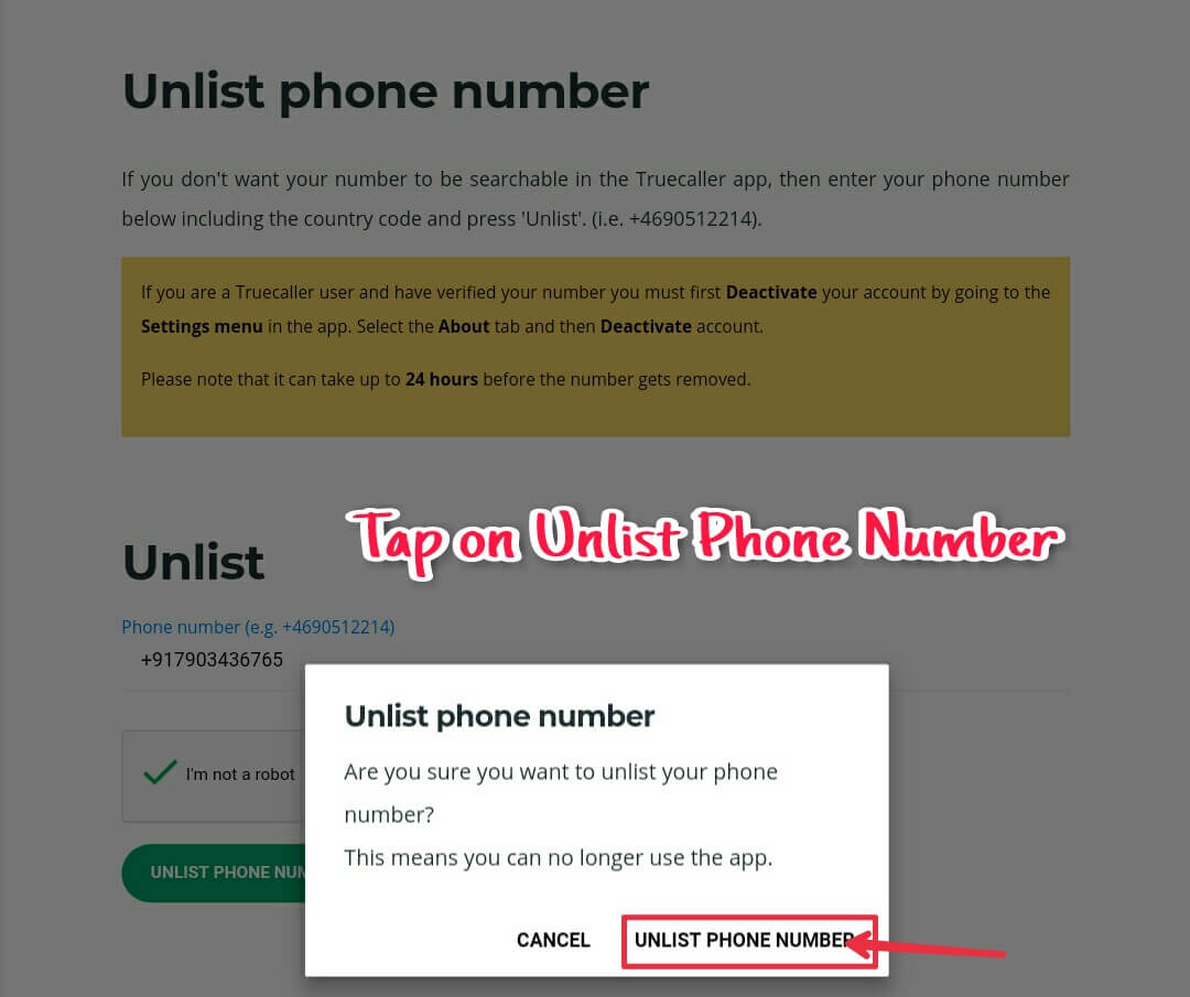 Unlist phone number