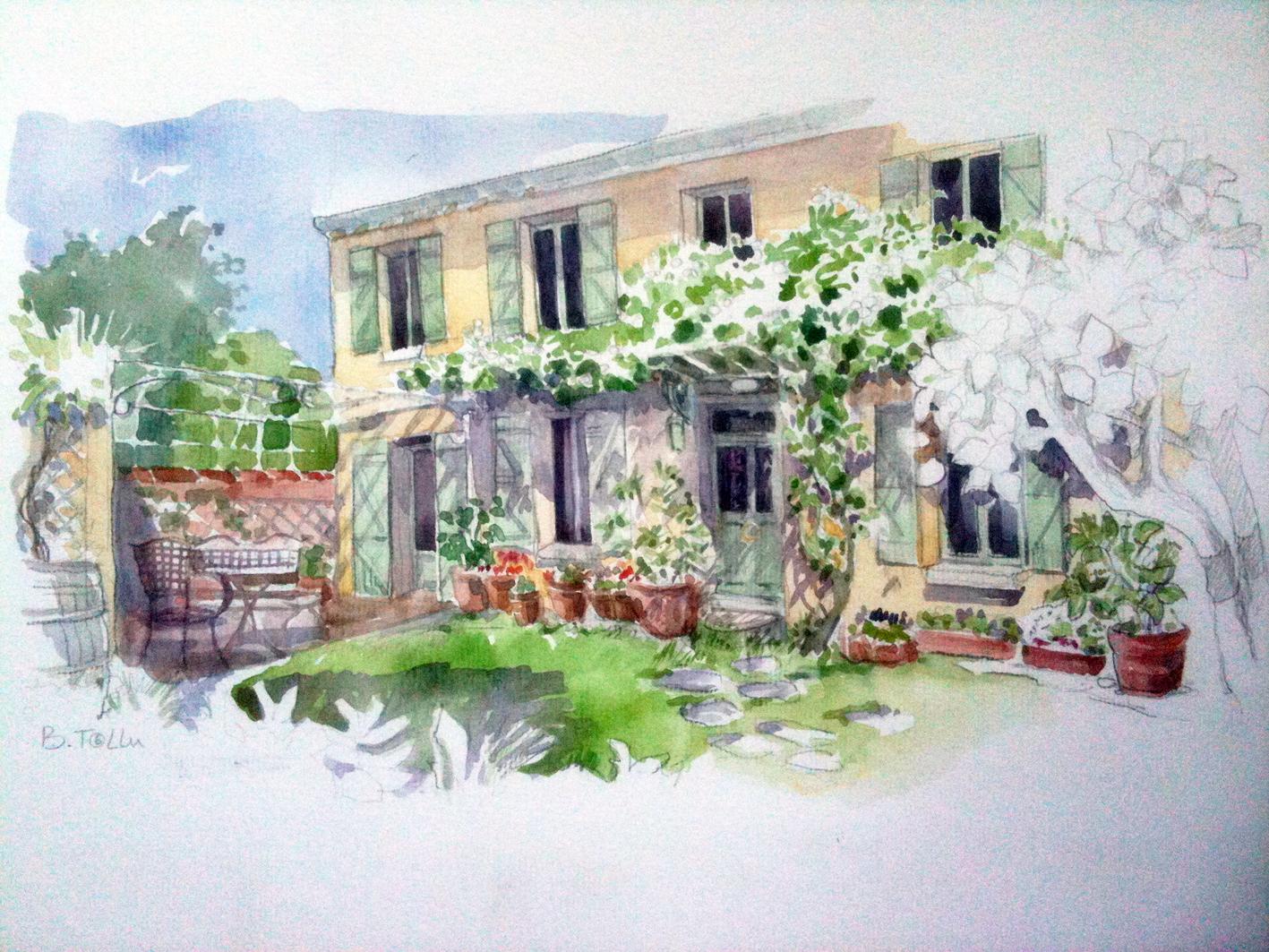 From soph to you portrait de maison l 39 aquarelle par for Les decores des maisons