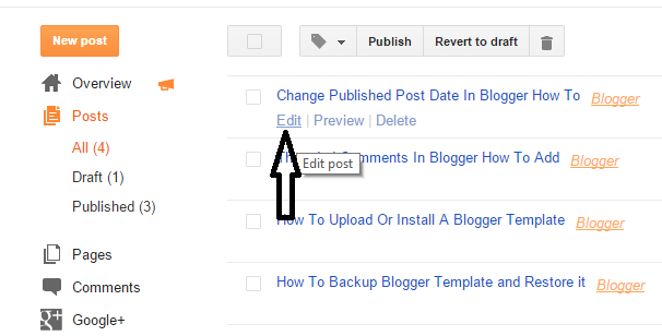 change publish post date in blogger