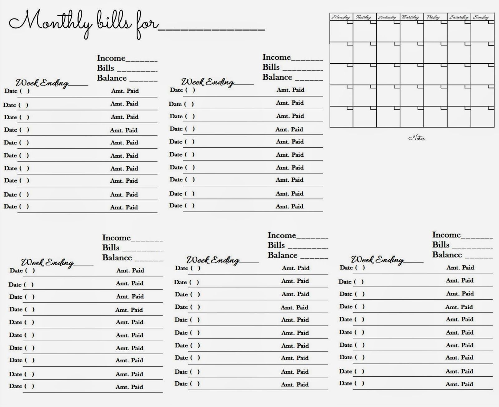 glenda s world worksheet to keep track of paid monthly bills