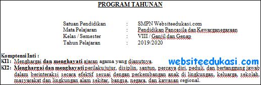 Prota PKn Kelas 8 Kurikulum 2013 Revisi Terbaru
