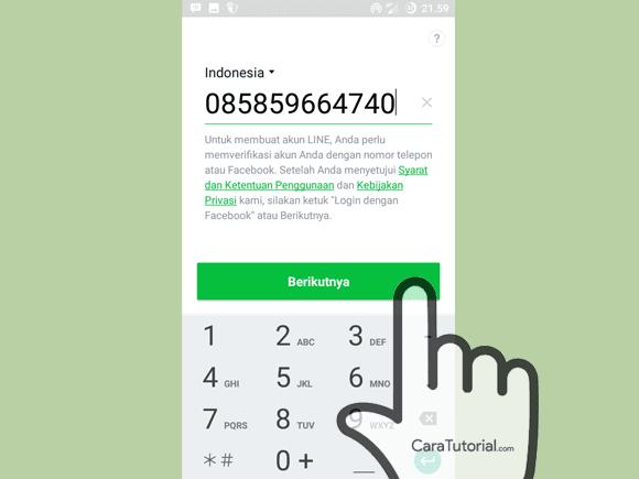 masukkan nomor teleppon daftar line