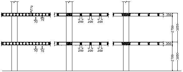 Fig. 4 Mặt cắt ngang công trình sử dụng sàn rỗng và sàn ô cờ