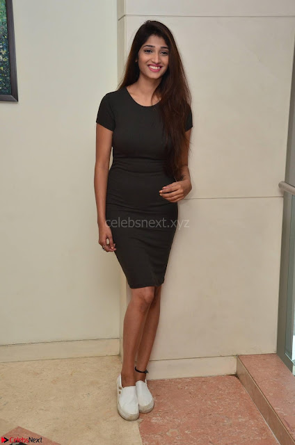 Priya Vadlamani super cute in tight brown dress at Stone Media Films production No 1 movie announcement 004.jpg