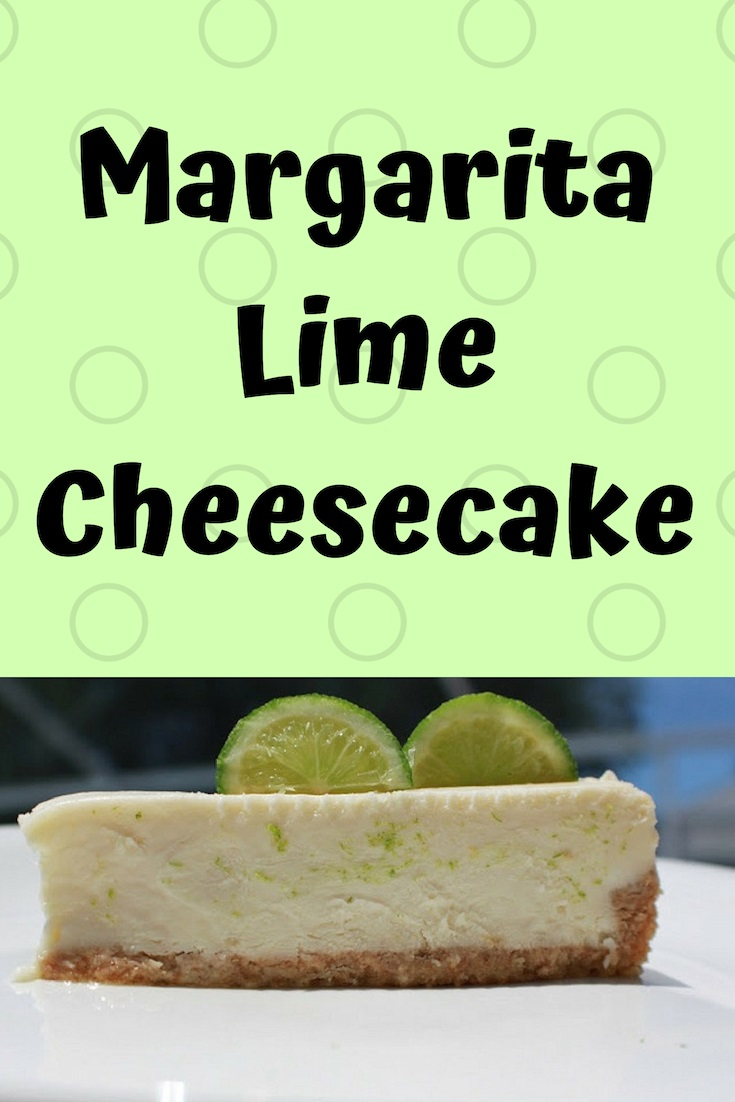 this is a slice of margarita cheesecake on a white plate with slices of lime on top. a pin for pinterest