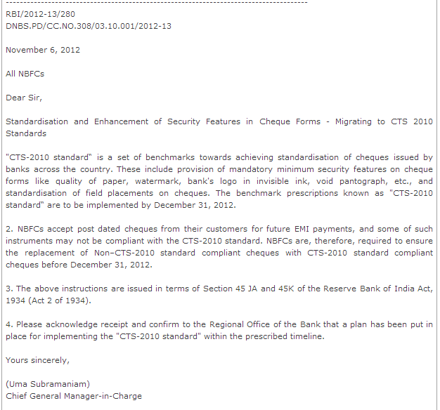 Post Dated Cheques Valid Till 31st December, 2012