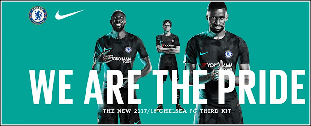 Tiémoué Bakayoko, Antonio Rüdiger and Marcos Alonso wearing the official Chelsea FC Third Kit 2017