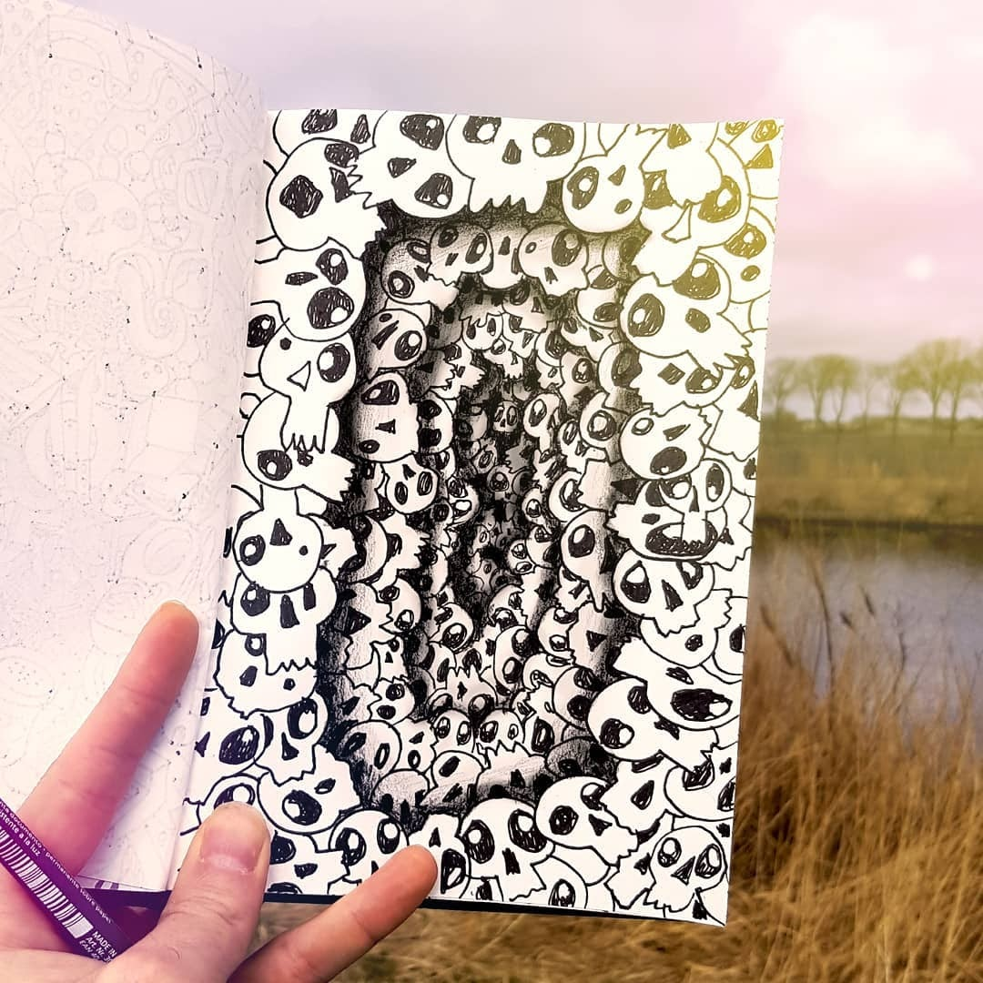 06-Deep-Skull-Ramon-Bruin-Optical-Illusions-in-3D-Drawings-www-designstack-co