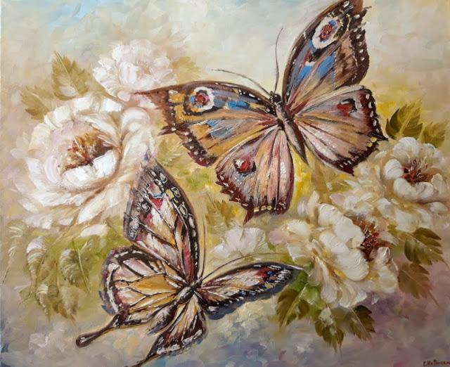 Картина, Весенние бабочки, 50х60см.