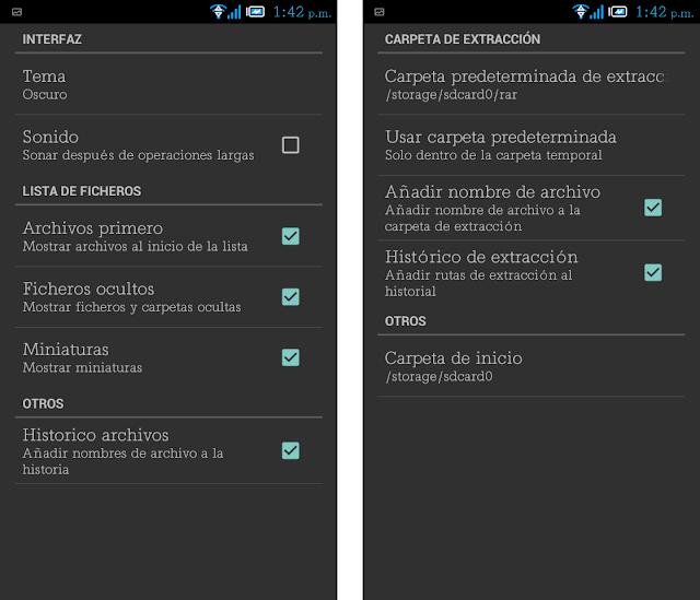 configuración de ZIP y RAR en tu Android