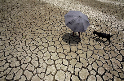 Parched land and farmer in Village, India