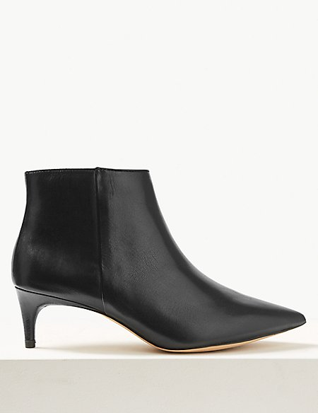 marks and spencer wide fit leather kitten heel ankle boots