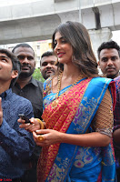 Puja Hegde looks stunning in Red saree at launch of Anutex shopping mall ~ Celebrities Galleries 092.JPG