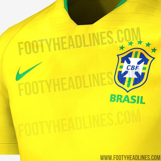 0bd58a95c8 La bande sur le haut du dos et le col du maillot du Brésil Coupe du Monde  2018 est bleu et verte, s'inspirant des couleurs du drapeau brésilien.