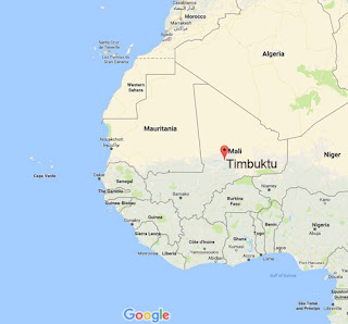 Google Map showing the location of the city of Timbuktu in Mali