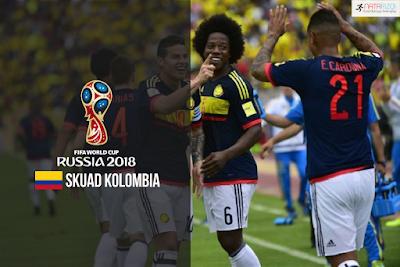 Skuad Susunan Pemain Kolombia di Piala Dunia 2018