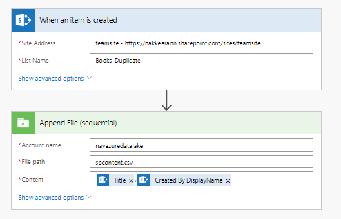MS Flow steps to push Data From SharePoint to Azure Data Lake Storage