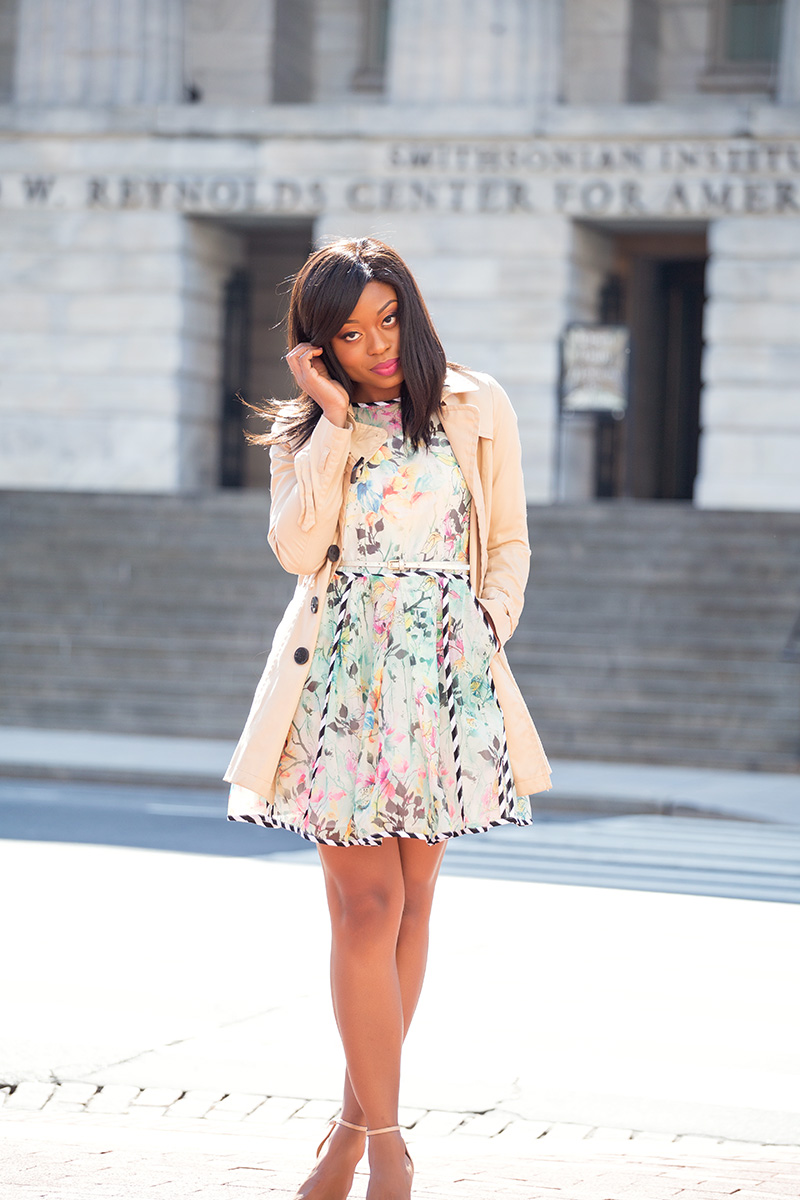 spring break, floral dress, asos, schutz sandals, trench coat, www.jadore-fashion.com
