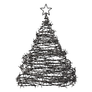 Christmas tree made of barbed wire