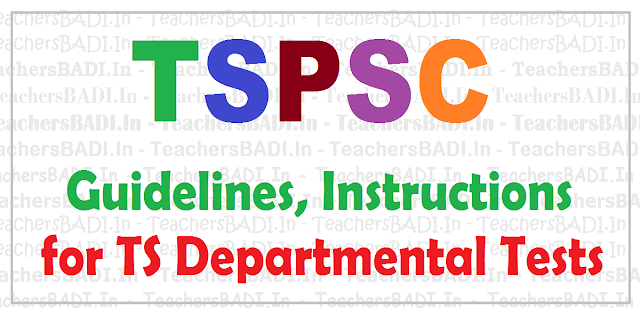 TS Departmental Tests Guidelines, Instructions to Candidates,TSPSC