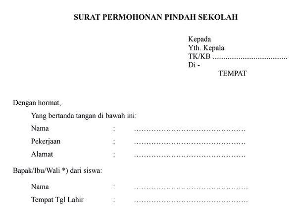 Format Surat Permohonan Pindah Sekolah Unduh Format Sekolah