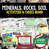 Minerals, Rocks, Soil Activities, Earth Science Activities, Choice Boards, Digital Graphic Organizers