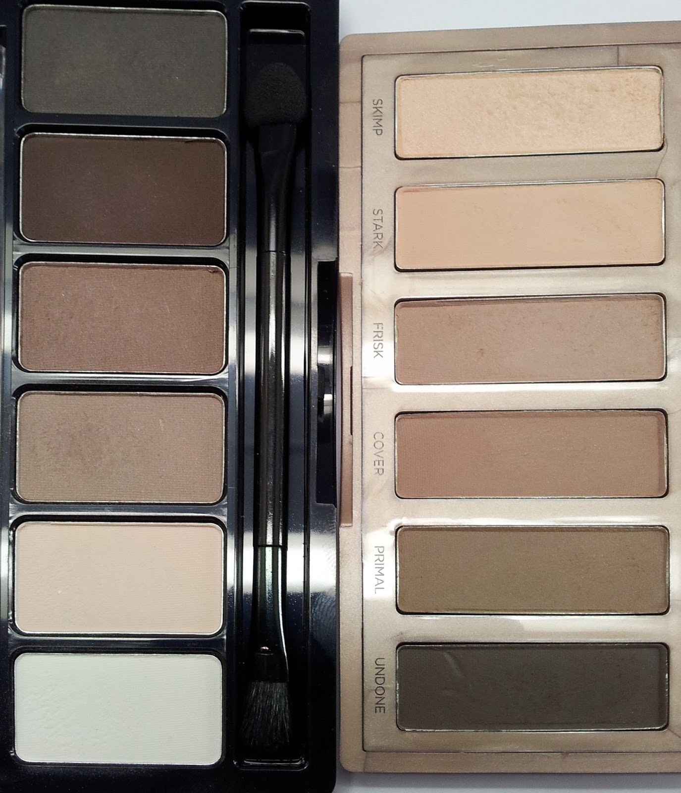 Vergleich Urban Decay Naked2 basics vs Catrice Absolute matt